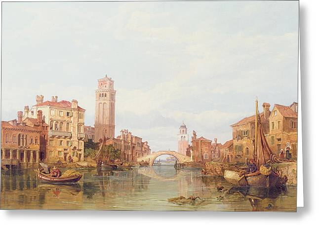 Townscape Greeting Cards - A View of Verona Greeting Card by George Clarkson Stanfield