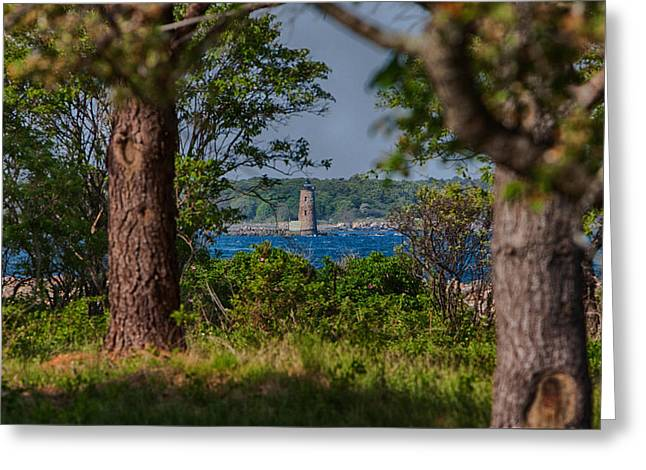 Maine Lighthouses Greeting Cards - A view of Whaleback through the trees Greeting Card by Jeff Folger