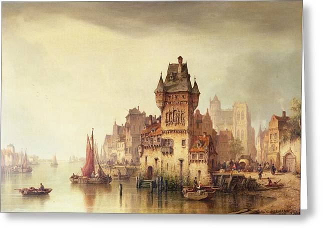 City Canal Greeting Cards - A View on the River Dordrecht Greeting Card by Ludwig Hermann