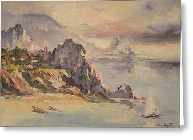 Seascape With Cloudy Sky Greeting Cards - A village behind the cliff Greeting Card by Tigran Ghulyan