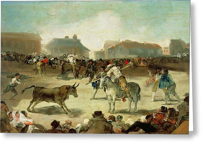 Toreador Paintings Greeting Cards - A Village Bullfight  Greeting Card by Goya