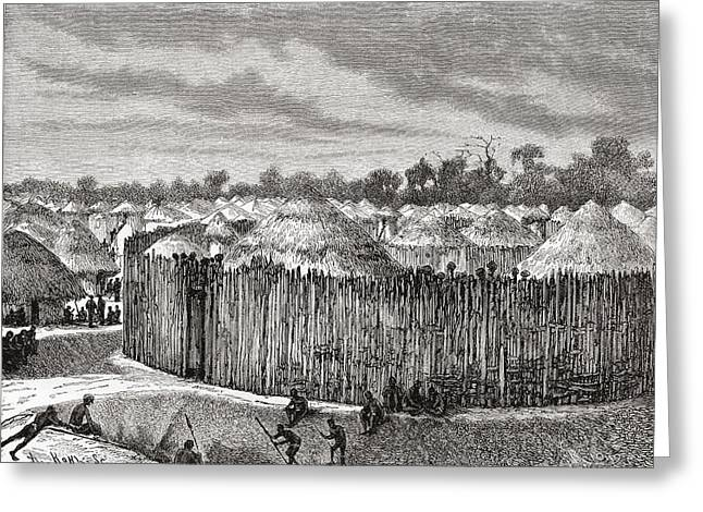 African Huts Greeting Cards - A Village In Central Africa During The Greeting Card by Vintage Design Pics