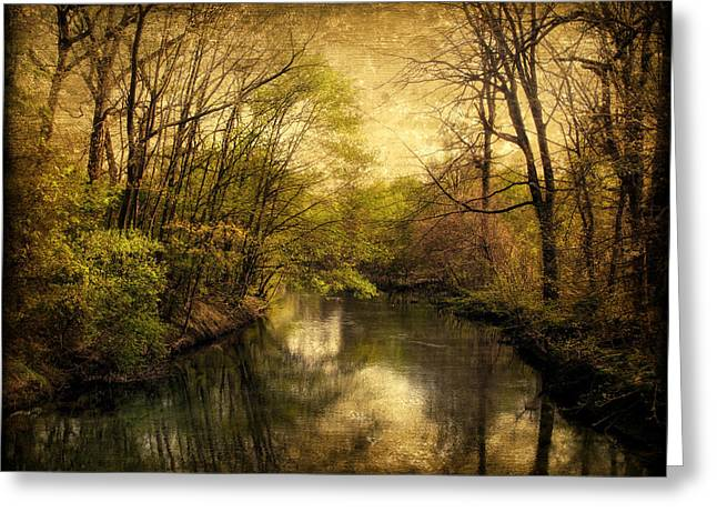 Waterscape Digital Art Greeting Cards - A Vintage Spring Greeting Card by Jessica Jenney