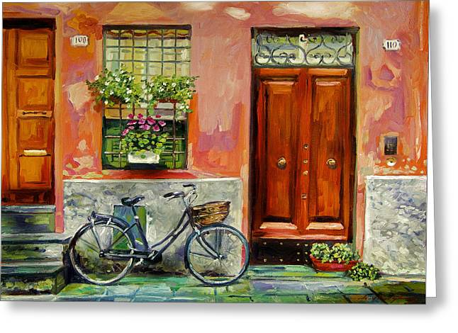 Street Scenes Greeting Cards - A Visit Greeting Card by David Lloyd Glover