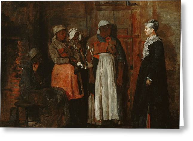 Old Lady Greeting Cards - A Visit from the Old Mistress Greeting Card by Winslow Homer