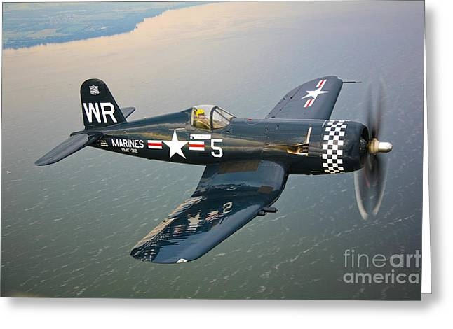 Aerial View Greeting Cards - A Vought F4u-5 Corsair In Flight Greeting Card by Scott Germain