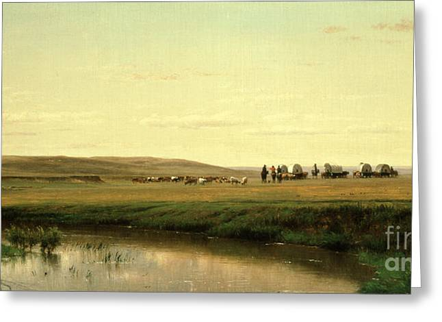 Coach Greeting Cards - A Wagon Train on the Plains Greeting Card by Thomas Worthington Whittredge