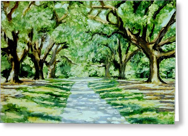 The Trees Greeting Cards - A Walk Among the Gods Greeting Card by David Zimmerman