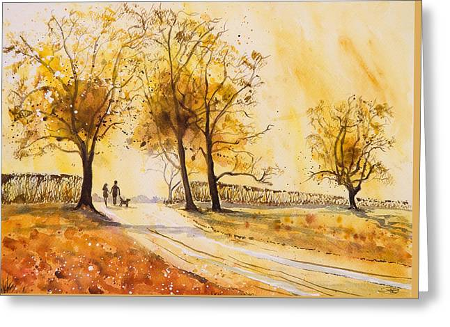 Mud Season Paintings Greeting Cards - A Walk at Sunrise Greeting Card by A Portrait Of Europe