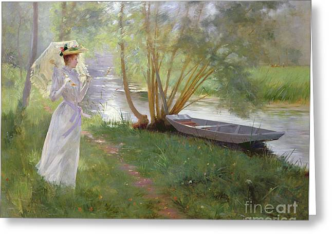 On A Walk Greeting Cards - A walk by the river Greeting Card by Pierre Andre Brouillet