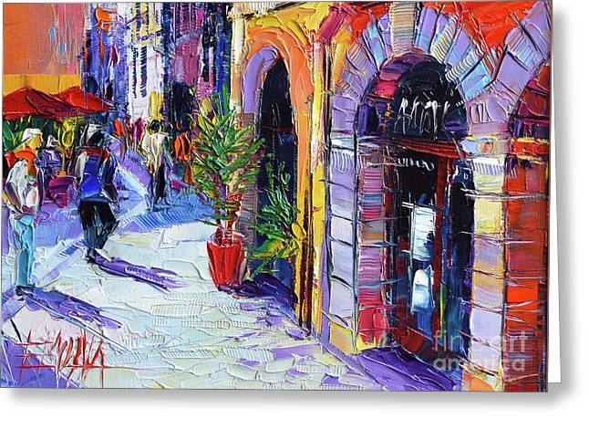 A Walk In The Lyon Old Town Greeting Card by Mona Edulesco