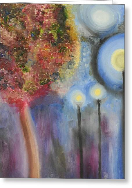 Streetlight Greeting Cards - A Walk In The Park Greeting Card by Chelsey Rivers