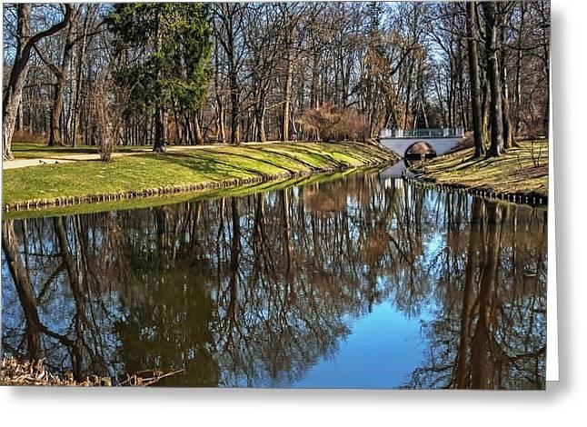 European Artwork Greeting Cards - A Walk in The Park Lazienki Warsaw Greeting Card by Carol Japp