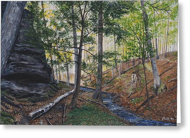 Sun Rays Paintings Greeting Cards - A walk in the Woods Greeting Card by Vicky Path