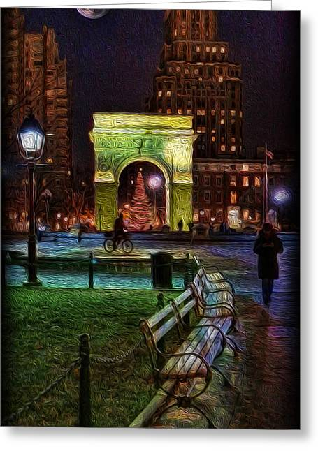 Greenwich Village Greeting Cards - A Walk in Washington Square Greeting Card by Lee Dos Santos