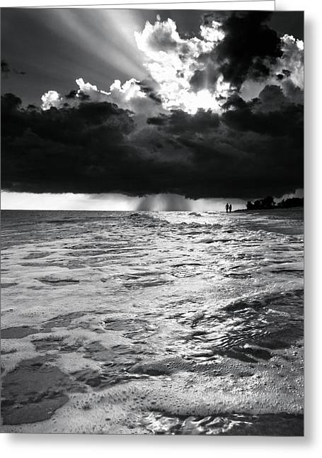 A Walk On The Beach In Black And White Greeting Card by Greg Mimbs