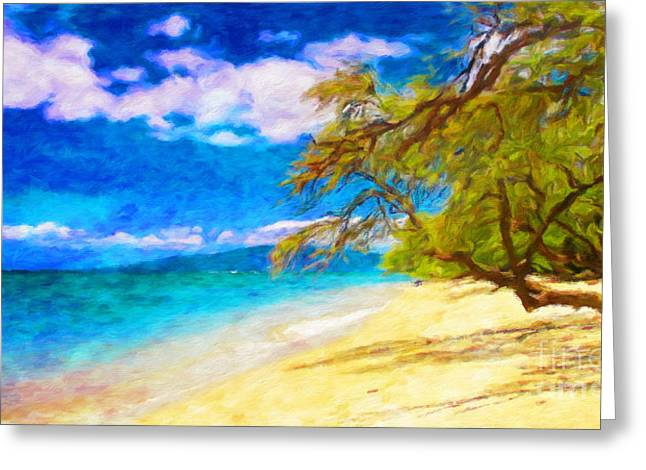 A Walk On The Beach Greeting Card by Jerome Stumphauzer