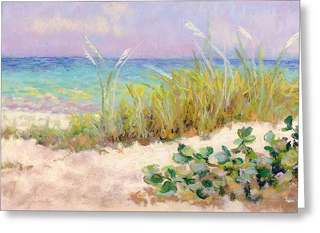 Sandy Beaches Pastels Greeting Cards - A Walk On The Beach Greeting Card by Phoebe Chidester