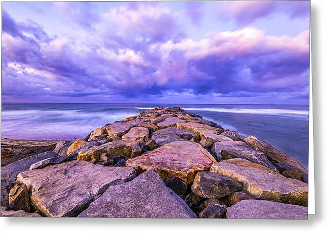 Storm Prints Photographs Greeting Cards - A Walk on the Jetty Greeting Card by Joseph S Giacalone