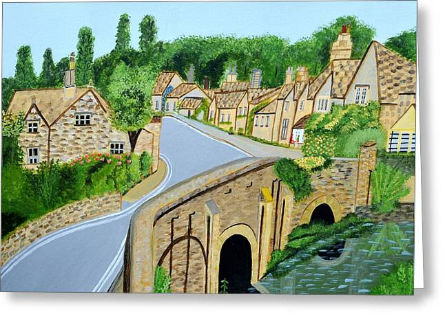A Walk Through A Village In The English Cotswolds Greeting Card by Magdalena Frohnsdorff