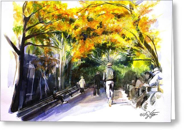 A Walk Through The Park Greeting Card by Liz Viztes