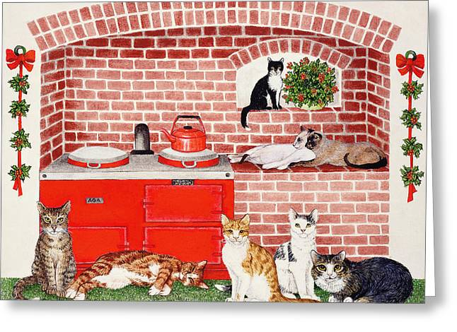 Happy Cat Greeting Cards - A Warm Place Greeting Card by Pat Scott