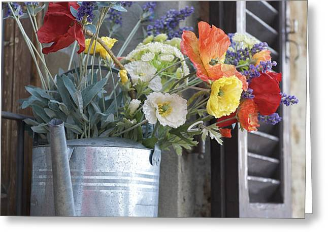 A Water Pitcher Holding Flowers Greeting Card by Keenpress