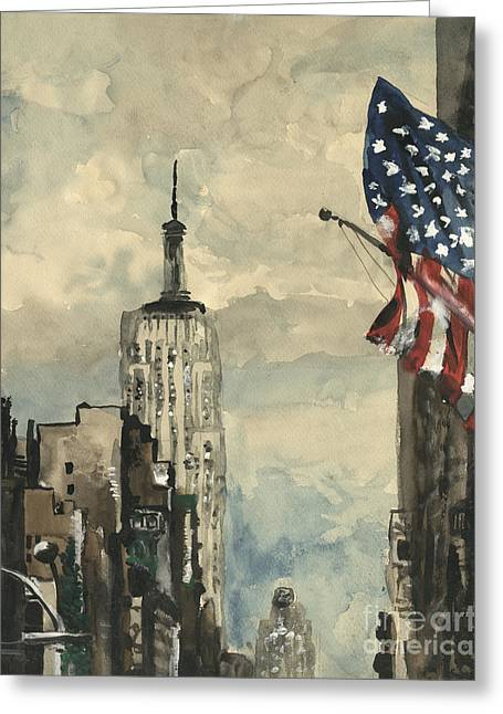 Flags Flying Greeting Cards - A watercolor sketch of New York Greeting Card by Dirk Dzimirsky