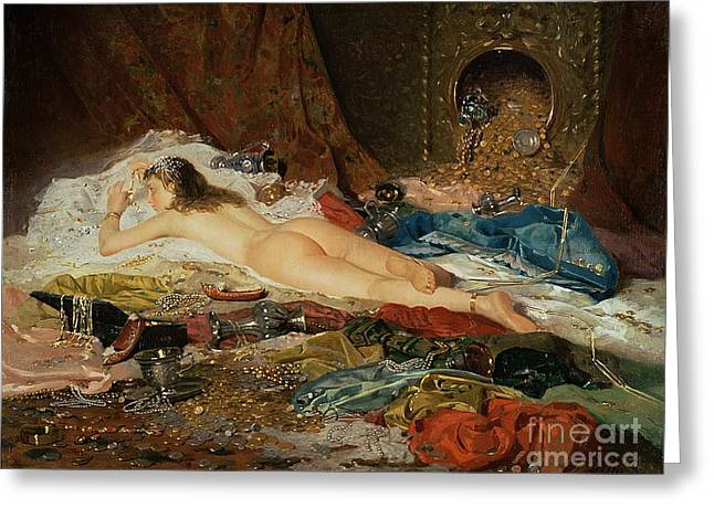 Harem Paintings Greeting Cards - A Wealth of Treasure Greeting Card by Della Rocca