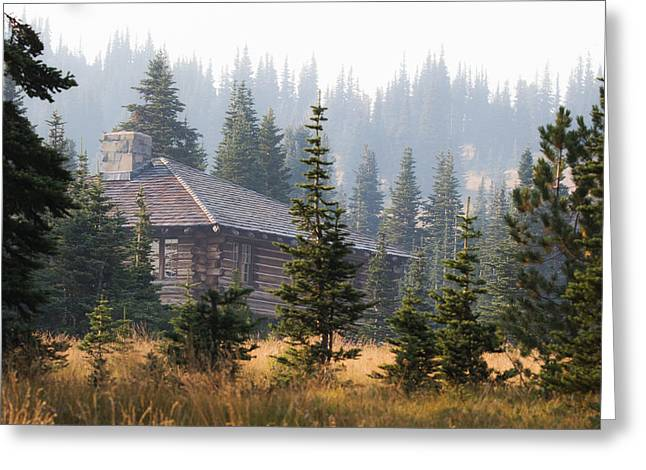Log Cabins Greeting Cards - A Welcome Sight Greeting Card by Angie Vogel