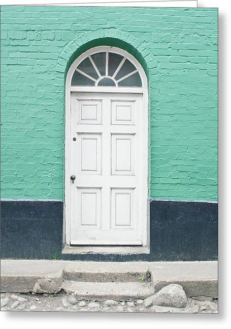 A White Door Greeting Card by Tom Gowanlock