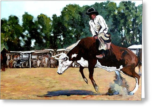 Bull Rider Greeting Cards - A Whole Lot of Bull Greeting Card by Tom Roderick