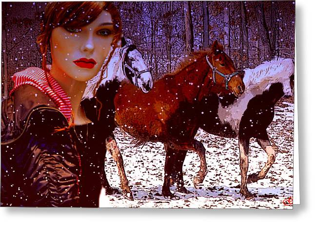 Wild Horses Mixed Media Greeting Cards - A Wild Heart Greeting Card by Julie  Grace