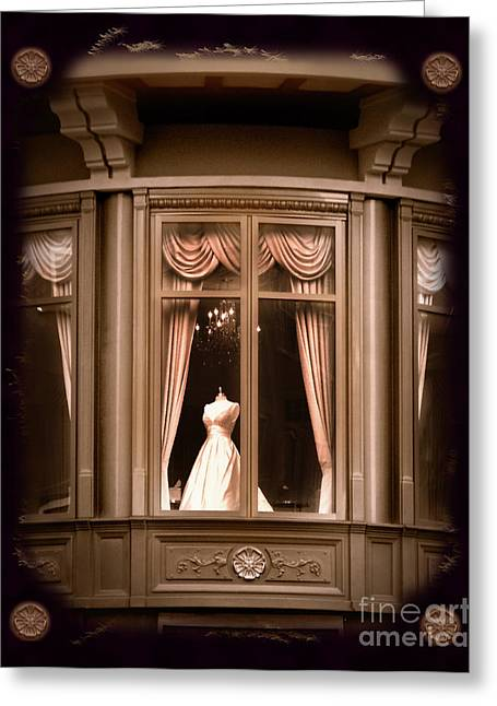 Bridal Gown Greeting Cards - A Window Lost in Time Greeting Card by Laura Iverson