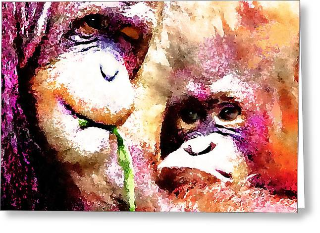 Clever Mixed Media Greeting Cards - A Wink And A Smile - Orangutan Greeting Card by Stacey Chiew
