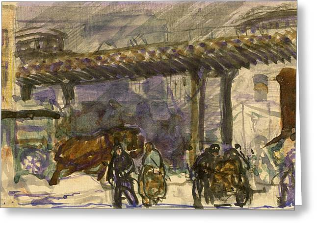 A Winter Day - Under The Elevated Near Brooklyn Bridge Greeting Card by George Bellows