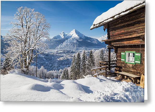 Hill Top Village Greeting Cards - A Winter Dream Greeting Card by JR Photography