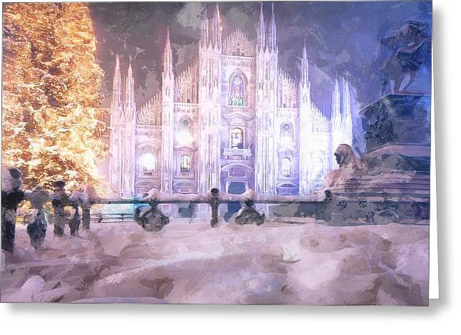 Mario Carini Paintings Greeting Cards - A Winter in Milan Greeting Card by Mario Carini