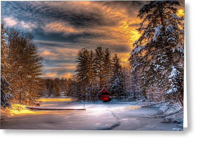 A Winter Sunset Greeting Card by David Patterson