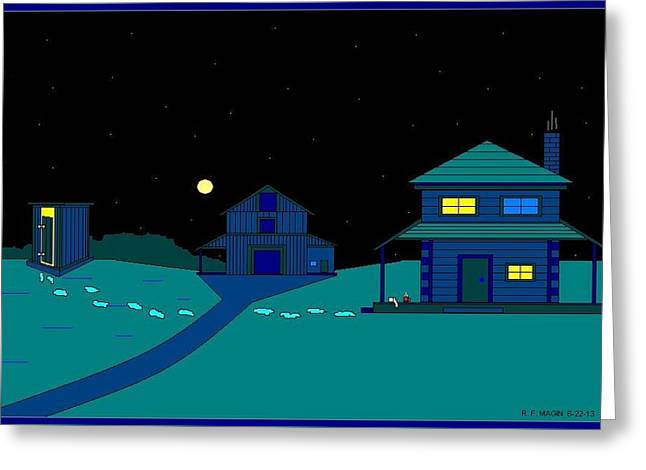 Etc. Paintings Greeting Cards - A Winter Time Walk In The Moon Light. Greeting Card by Richard Magin