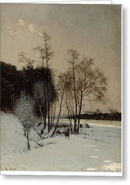 A Winter View In Posen Greeting Card by Hans Hampke