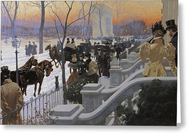 A Winter Wedding Washington Square Greeting Card by Fernand Lungren