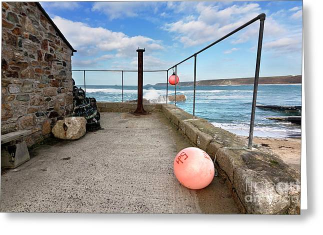 A Winters Day In Sennen Cove Greeting Card by Terri Waters