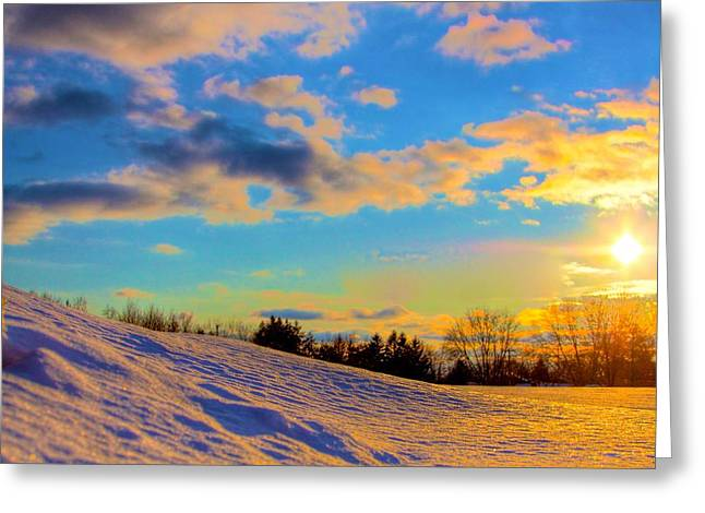 Snow Scene Landscape Mixed Media Greeting Cards - A winters sunset  Greeting Card by Robert Pearson