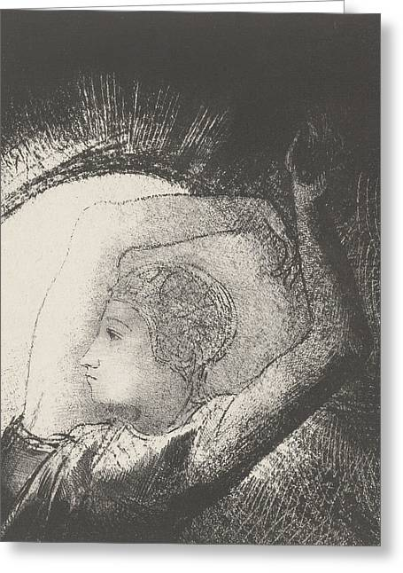 A Woman Clothed By The Sun Greeting Card by Odilon Redon