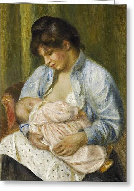 Renoir Greeting Cards - A Woman Nursing a Child Greeting Card by Auguste Renoir