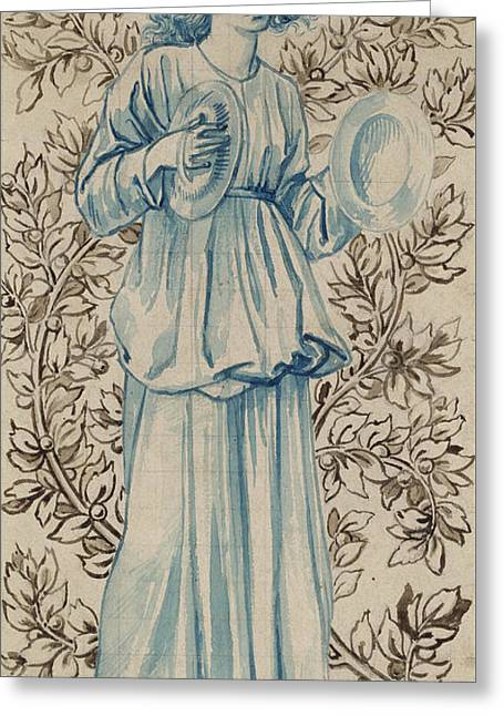 A Woman Playing Cymbals Greeting Card by William Morris