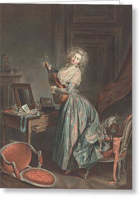 A Woman Playing The Guitar Greeting Card by Jean-Francois Janinet