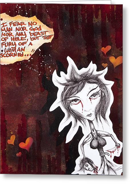 Print On Acrylic Greeting Cards - A Woman Scorned Greeting Card by Iosua Tai Taeoalii