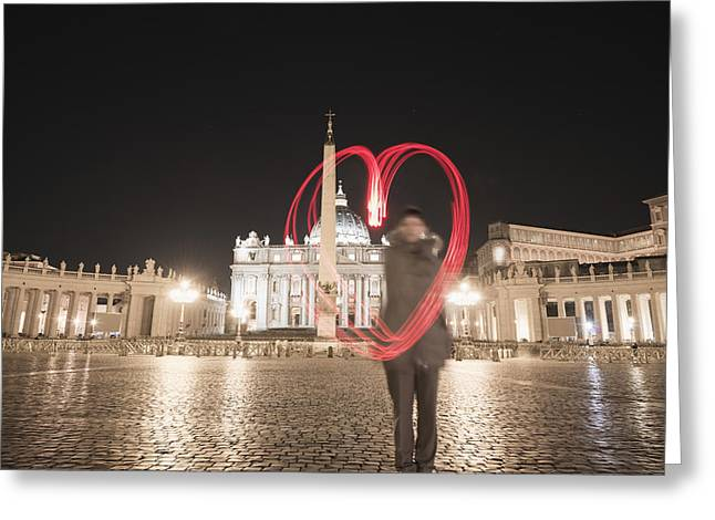 Basilica Di San Pietro Greeting Cards - A Woman Stands With A Red Light Trail Greeting Card by Mats Silvan